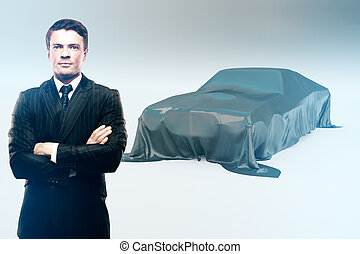 Businessman and covered car