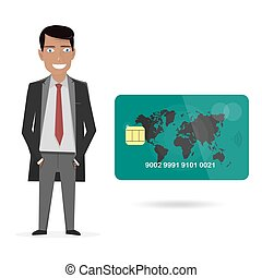 Businessman and credit card. Vector illustration on a white background.
