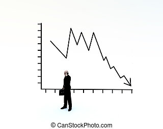 Businessman And Credit Crunch Graph