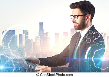 businessman and cyberspace