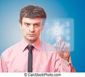 Businessman and digital button