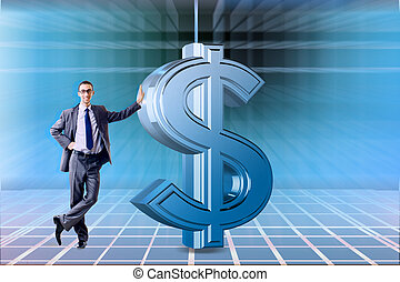 Businessman and dollar in business concept