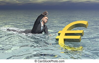 Businessman and euro sinking - 3D render