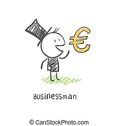 Businessman and Euro symbol. Business illustration.