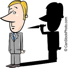 businessman and evil shadow - Concept Cartoon Illustration...