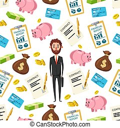 Businessman and financial items pattern