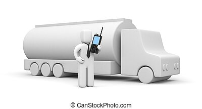 Businessman and Fuel Truck