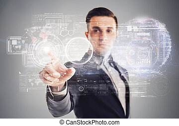 Businessman and futuristic virtual technology concept