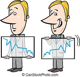 businessman and graph cartoon