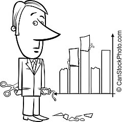 businessman and graph data cartoon - Black and White Concept...