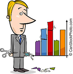 businessman and graph data cartoon - Concept Cartoon...