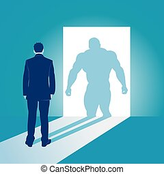 Businessman and his muscular superhero shadow. Business concept vector illustration