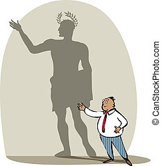 Businessman and his sadow - Vector illustration of a...