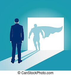Businessman and his shadow. Business concept vector illustration