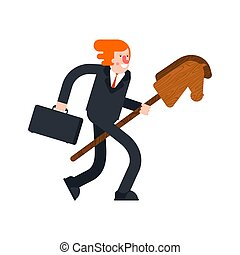 Businessman and Horse stick toy wooden. Child game vector