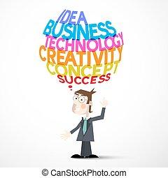 Businessman and Idea Business Technology Creativity Concept Success Titles