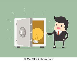 Businessman and Idea In Safe. Business Concept Cartoon...