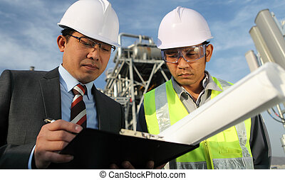 businessman and industrial engineer - businessman and oil...