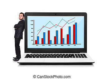 Businessman and laptop with chart