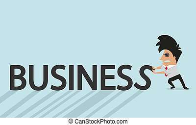 businessman and letters of the word business concept