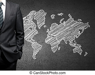 businessman and map