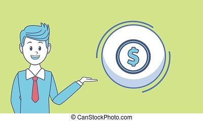 Businessman and money HD animation