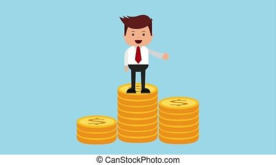 businessman and money icons - business man on pile of coins...