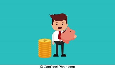 businessman and money icons - business man with pile of...