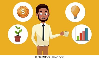 Businessman and money icons HD animation