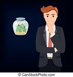 Businessman and money in a glass jar