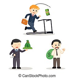 businessman and money set