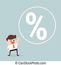 Businessman and percent sign. flat design