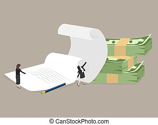 Businessman and piles of papers. Business concept - work with documentation, workflow, bureaucracy. Vector, illustration