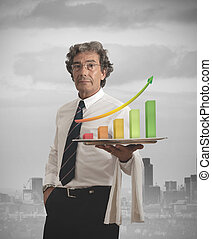 Businessman and positive statistics