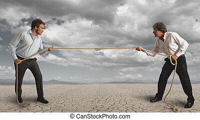Businessman and pull the rope