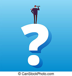 Businessman and question mark. Future decision, strategy choice and business challenge vector concept
