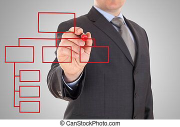 businessman and red organization chart on a white board