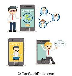 businessman and smartphone set