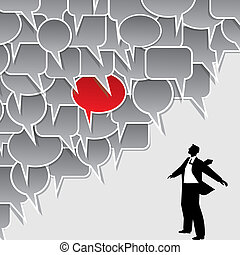 businessman and speech bubble