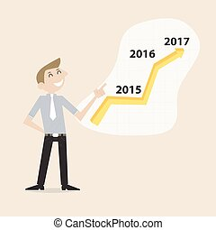 Businessman and stock market arrow presentation.Cheerful businessman with graph indicating increase. The concept of business success.