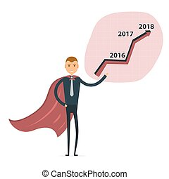 Businessman and stock market arrow presentation. Cheerful businessman with graph indicating increase. The concept of business success.