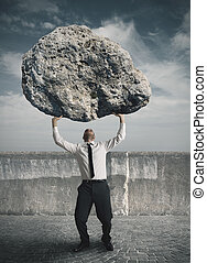 Businessman and stress - Concept of the weight of the stress