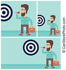 Businessman and target board vector illustration.