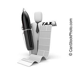 Businessman and taxation list. 3d illustration