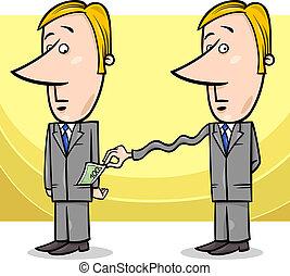 businessman and taxes cartoon - Concept Cartoon Illustration...