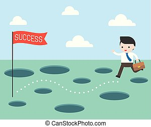 Businessman and the route to success, planning and obstacle avoidance concept