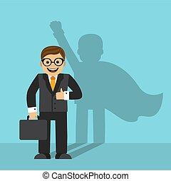 businessman and the shadow of a superhero