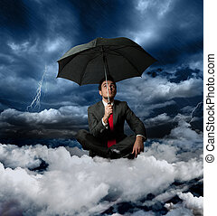 Businessman and the storm - Businessman on a cloud during a ...