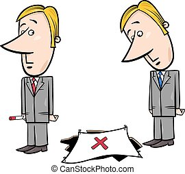 businessman and the trap - Concept Cartoon Illustration of...