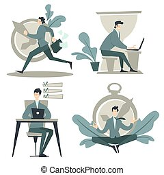 Businessman and time management, work planning and schedule, isolated icons